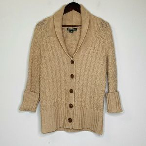 Eddie Bauer Tan Cable Knit Lambswool Sweater XS S